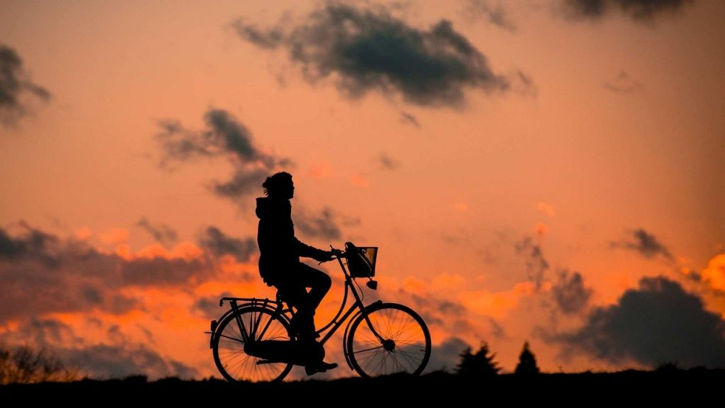 silhouette, bike, fitness